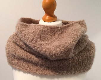 Hand Knit Alpaca Bouclé Shrug Cowl Neckwarmer in Light Beige