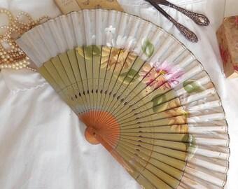 Antique French fan, hand-painted, vintage fan, antique hand fan