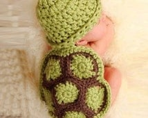 Crochet Baby Turtle Photo Prop, Green Hat and Turtle Shell Unisex