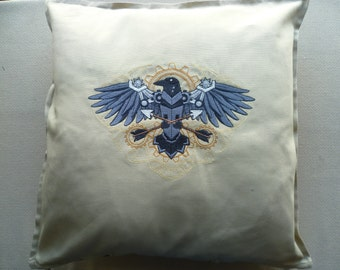 Steampunk Raven Cushion Cover Decorative Pillow Embroidered Emo Goth Victorian Victoriana Western
