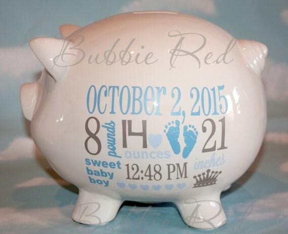 personalized piggy bank baby boy piggy bank baby birth stats