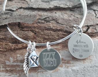 Kidney Disease Personalized Adjustable Wire Bangle Bracelet