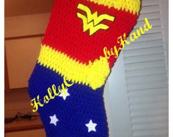 Chrochet Wonder Woman Christmas Stocking, Superhero Stocking