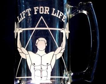 Weight Lifting Beer Mug - Sandblasted