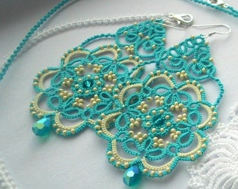 Handmade earrings Turquoise earrings Dangle earrings Lace earrings Tatted Earrings Cream Beads Blue Long Earrings Womens Gift Lace Jewelry