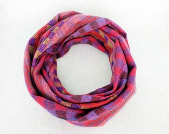 Purple Plaid Scarf - Hand Woven Scarf in Purple and Pink - Purple Infinity Scarf - Pink Plaid Scarf - Cotton Infinity Scarf 6100