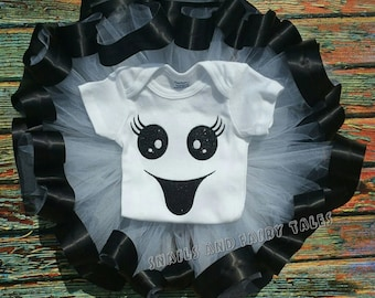 Halloween Ghost  Costume Ribbon Trim Tutu Set Baby & Girls
