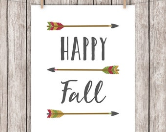 Happy Fall Printable Art Quote Arrows Autumn Home Decor Art Print  Green Gold Red Wall Art 8 x 10 Instant Download Digital File