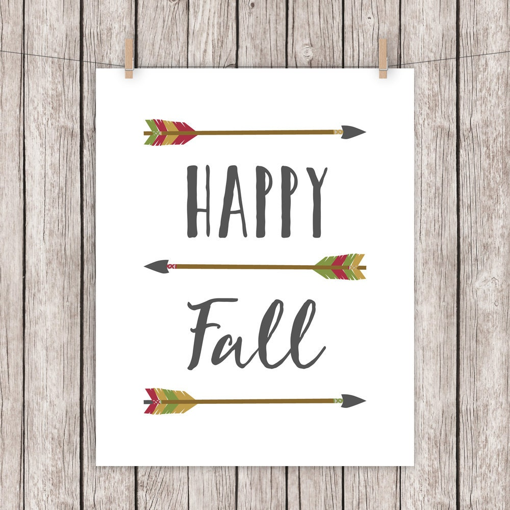 Happy Fall Printable Art Quote Arrows Autumn Home Decor Art - fall home decor quotes