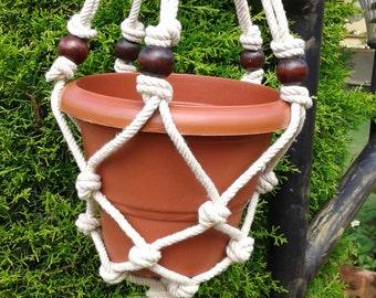 Natural macrame plant hanger,pot holder,bird feeder,hanging planter indooor ,outdoor, small rope planter,