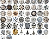 Vintage Ceramic Knobs Ornamental Door Knobs with Various Black White  Grey Designs Kitchen Cabinet Handle Cupboard or Drawer Pulls