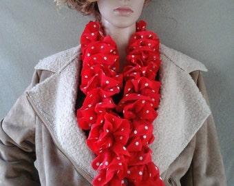 Hand-Knitted Red/White Dots Ruffled Scarf
