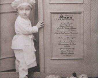 Pastry cook, Boy, Vintage, Paper Napkins for Decoupage, set of 3 paper napkins, 33x33 cm (no.78)