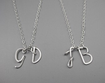 Two Initial Necklace - personalized silver double uppercase cursive letter, custom mother or grandma jewelry