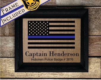 Personalized Police officer gifts, thin blue line, gifts for police officer, police academy graduation, police wife, policeman (pol323-3)