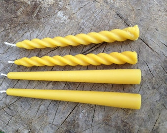 Four beeswax candles, 8'' taper candles. 100% pure beeswax candles. Two smooth and two spiral design - other design combinations available