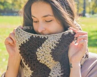 Chevron Cowl Scarf- Espresso Yourself- Chevron Scarf- Handmade Crochet Cowl- Cowl- Cowl Scarf- Infinity Scarf- Crochet Scarves- Chunky Cowls