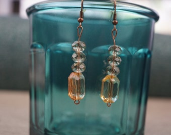 Brown, yellow and rose gold beaded earrings