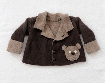 18-24 Month or 2T Toddler Boy or Girl Teddy Bear Brown Fleece Sherpa Sweater