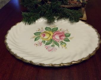 Vintage Rose Platter, Royal China Quban Pattern, 13 1/2 Inches diameter