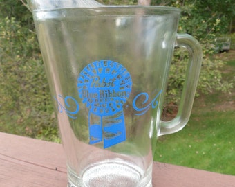 Pabst Blue Ribbon Beer Glass Beer Pitcher,  Pabst  Beer Pitcher, 60 Oz