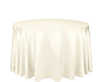 108 inch Ivory Round Tablecloth Satin | Wedding Table Cloths
