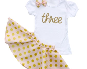 Pink & Gold 3rd Birthday Outfit with Twirl Skirt and Hair Bow, Pink and Gold Girls Polka Dot Birthday Outfit, glitz gold