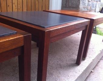 Mid Century Modern Slaye and Walnut end tables.