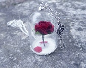 "Dome Necklace "" A Rose In Winter """