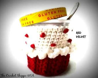 Ice Cream Cupcake Cozy for Pint Size Container Red Velvet Cupcake Party Favor Crochet Cozy