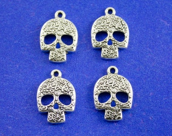 4 pcs- Silver Skull, Calavera Sugar Skull Charm, Day of the Dead Skull, Mexican Sugar Skull Pendant, Día de los Muertos-  AS-39106-EBBJJ