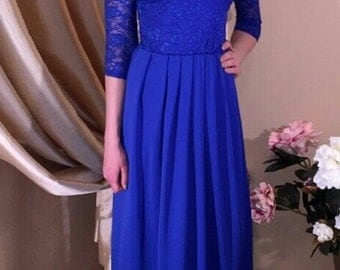 Royal Blue Red Top Lace  Maxi Dress 3/4 Sleeves Pockets