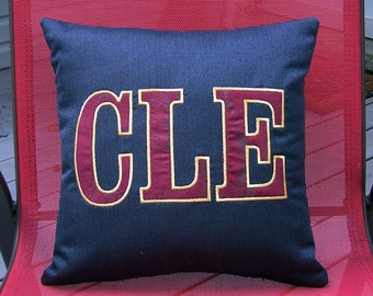 CLE home town decorative pillow - applique pillow - Cleveland pillow - CLE pillow