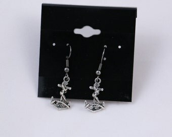 Anchor Charm Earrings - Silver