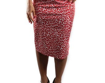 Leopard print pencil skirt Red