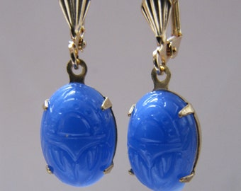 Vintage 1930's blue scarab glass earrings
