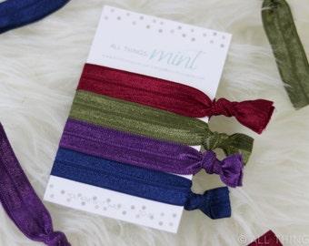 Fall Theme Hair Ties | Green, Blue, Purple, Red