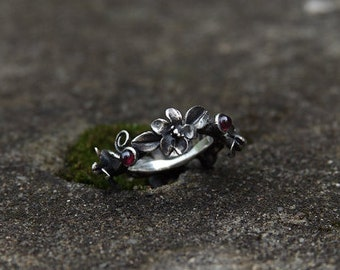 "Silver handmade ring ""Wreath of flowers"""
