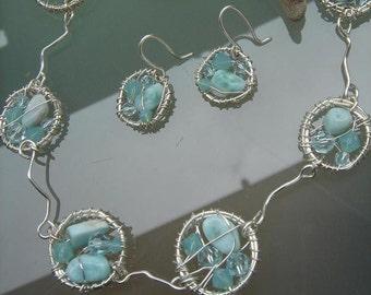 Unusual Larimar necklace!