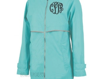 Monogram Raincoat, Monogram Rain Jacket, Charles River Jacket, New Englander Rain Jacket, Personalized Jacket