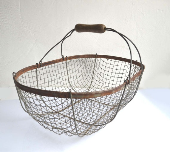 Large antique french wire oyster fishing by for Fish wire basket