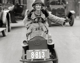Flapper Driving Pedal Car, 1924. Vintage Photo Digital Download. Black & White Photograph. Automobiles, Cars, Girl, Driving, 1920s, 20s.