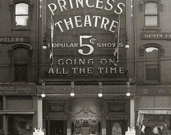 The Princess Theatre, 1910. Vintage Photo Digital Download. Black & White Photograph. Vaudeville, Silent Film, Movies, Theater, 1910s.