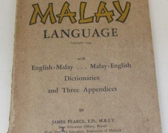 Vintage 1950s Language Book - Malay language - Malaysian