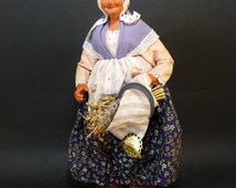 Santon from Provence, clay doll, vintage popular art and craft, traditional southeastern France