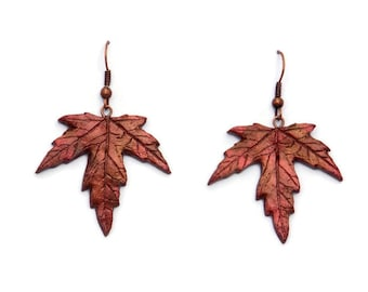 Maple Leaf Earrings - Dangle Earrings - Fall Wedding Jewelry - Polymer Clay Earrings - Fall Jewelry - Canada Day - Maple Leaf Jewelry