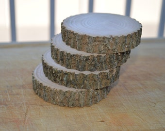 Set of 4 Rustic Wood Coasters with WaterSeal Protective Coating / Rustic Wedding Coasters