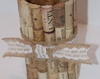 Recycled Wine Cork Vase Cylinder With Burlap Lace Ribbon
