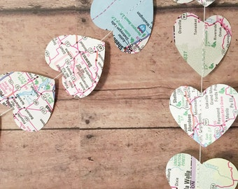 Map Heart Garland • Travel Theme Party Decor • Map Banner • Atlas Page Art • Map Cutout • Travel Garland • Travel Map Wedding Decorations