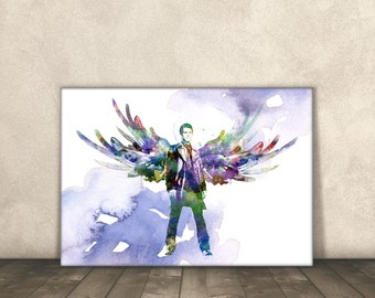 Supernatural, Castiel, Watercolor, Poster Print, 8x10, 11x14, 13x19, 18x24 and 24x36